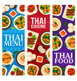thai cuisine food traditional dishes meal banners vector image vector image