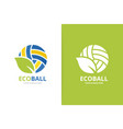 volleyball and leaf logo combination play vector image vector image
