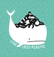 with white whale and big hill garbage on it vector image vector image