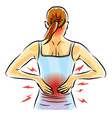 woman back ache vector image