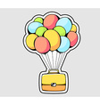 yellow briefcase flying on color balloons vector image