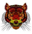 tiger head colored hand drawn zentangle design vector image