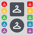 Hanger icon sign A set of 12 colored buttons Flat vector image
