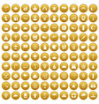 100 star icons set gold vector image vector image