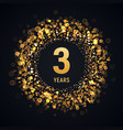 3 years anniversary isolated design element vector image vector image