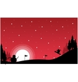 At night Christmas landscape with snowman vector image vector image