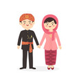 betawi jakarta indonesia couple cartoon vector image vector image