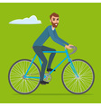 Bicyclist rider hipster man with bike bicycle vector image