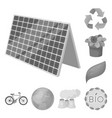 bio and ecology monochrome icons in set collection vector image vector image