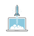 business startup idea rocket takes off vector image vector image