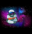cartoon floating astronaut reading a book on vector image vector image