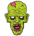 cartoon rotting zombie head vector image vector image