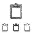 Clipboard icon set - sketch line art vector image vector image