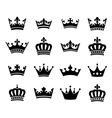 Collection of 16 crown silhouette symbols vector image