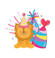cute and little lion with party hat vector image
