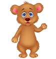 Cute baby bear cartoon waving hand vector image vector image