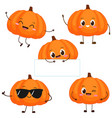 cute happy orange pumpkin character vector image