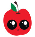 cute red apple on white background vector image vector image