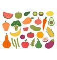doodle farm vegetables fruits colorful vegetable vector image vector image
