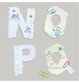 English alphabet - letters are made of old paper