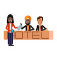 european receptionists at hotel reception desk vector image vector image