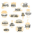 fast food snacks burgers and pizza lettering vector image vector image