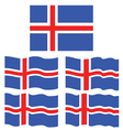 Flat and Waving Flag Of Iceland vector image vector image