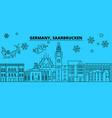 germany saarbrucken winter holidays skyline vector image vector image