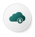 green cryptocurrency cloud mining icon isolated on vector image vector image