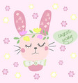 hand drawn cartoon style easter bunny vector image