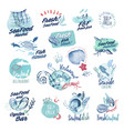 hand drawn watercolor labels and badge of seafood vector image vector image