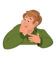 Happy cartoon man torso in green sweater holding vector image vector image