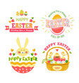 happy easter isolated icons religious holiday cake vector image vector image