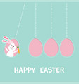 happy easter text hanging pink painting egg set vector image vector image