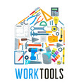 house with work tool icons for home repair design vector image