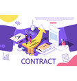 isometric concept the investors holds money in vector image