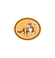 Jockey Horse Racing Oval Retro vector image vector image