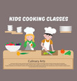 kids cooking classes poster children cook vector image vector image