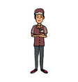 man in uniform of delivery worker standing vector image