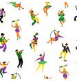 mardi gras seamless pattern with funny dancing vector image