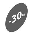 minus 30 percent sale black emblem icon isometric vector image