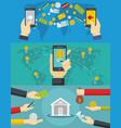 money transaction banner concept set flat style vector image