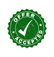 offer accepted grunge stamp with tick vector image vector image