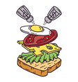 sandwich with egg vector image