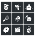 Set of Disinfection Icons Man fly apron vector image vector image