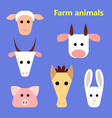 set of farm animals heads vector image