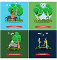set of love posters in flat style vector image vector image