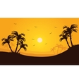 Silhouette of palm in hills scenery vector image vector image