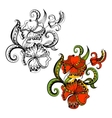 Sketchy doodles decorative floral outline vector image vector image