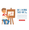 smiling boy artist painting a piece art on a vector image vector image